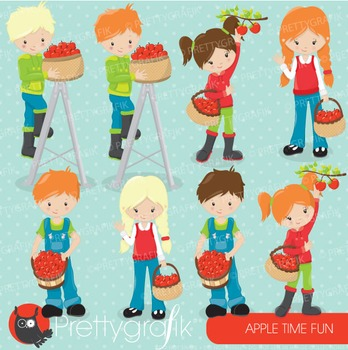 Apple picking clipart commercial use, vector graphics, digital - CL690