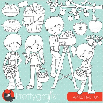 Apple picking stamps commercial use, vector graphics, images - DS690