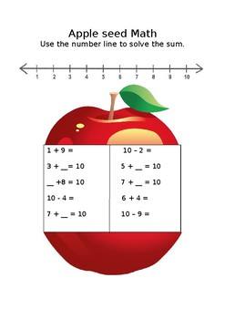 Apple seed Math (addition up to 10)