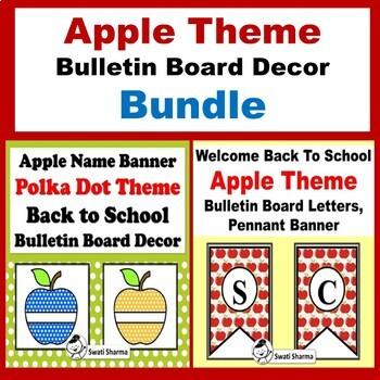 Apple Theme, Back to School Bulletin Board Decor, Bundle