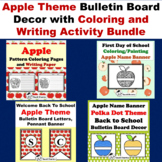 Apple theme bulletin board decor with coloring and writing activity Bundle
