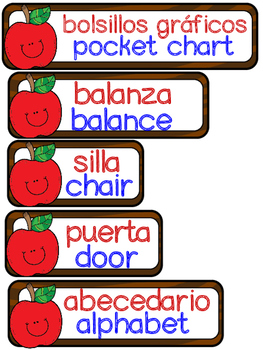 Apple themed Dual language classroom labels labels