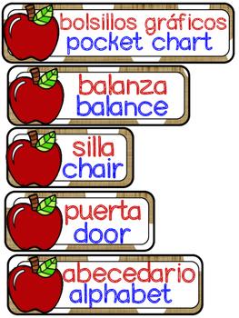 Apple Dual language classroom labels (white dot version)