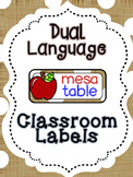 Apple Dual language classroom labels labels (white dot version)