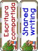 Apple Dual language classroom labels labels (white dot version)
