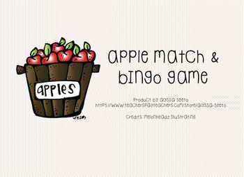 Apple-themed Number Match and BINGO