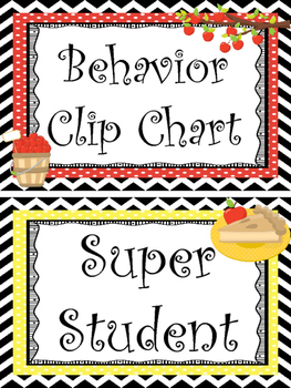 Apple themed Printable Behavior Clip Chart. Classroom Beha