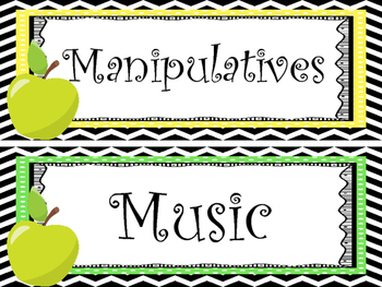 12 Apple themed Printable Classroom Center Signs. Class Accessories.