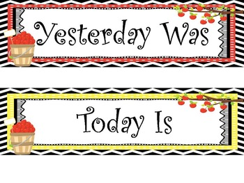 Apple themed Printable Days of the Week Classroom Bulletin Board Set. Class Acce