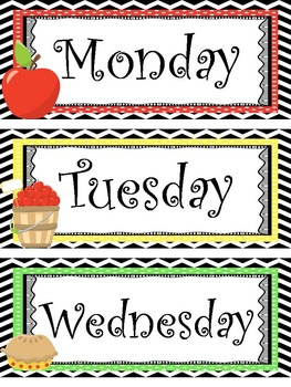 days of the week printables pdf