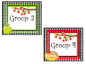 Apple themed Printable Group Number Signs and Labels. Class Accessories.