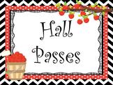 Apple themed Printable Hall Pass Sign and Hall Passes. Cla