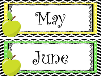 Apple themed Printable Month Classroom Bulletin Board Set. Class Accessories.