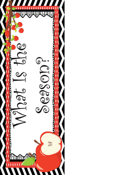 Apple themed Printable What Is the Season Bulletin Board Set. Class Accessories.
