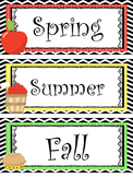 Apple themed Printable What Is the Season Bulletin Board S