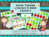 Apple themed literacy and math centers- apple activities f