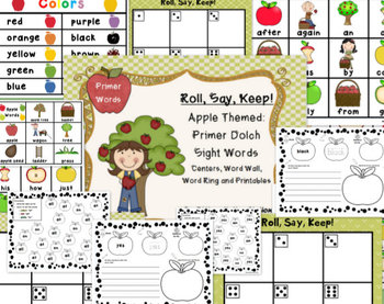 "BUNDLE! Apple ""Roll, Say, Keep!"" Dolch Sight Word Center, Printables, Word Wall"