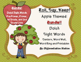 """BUNDLE! Apple """"Roll, Say, Keep!"""" Dolch Sight Word Center, Printables, Word Wall"""