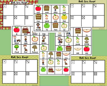 """Apple""""Roll, Say, Keep!""""Pre-Primer Dolch Sight Word Center + Printables,Word Wall"""