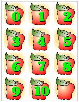 Apples 0-10 Number Cards