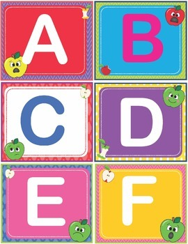 Apple Faces Apples ABC/123 Number and Letter Cards Shelf Labels