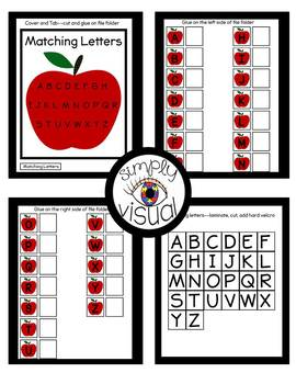 Apples Matching Letters File Folder Activity