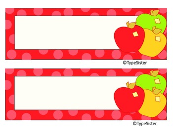 Apples AND  Red Polka Dot Desk Plate/Name Plates 2for1