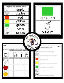 Apples Adapted Book and Literacy Center Bundle