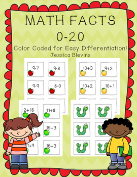Back to School Apples Addition and Subtraction 0-20 Game