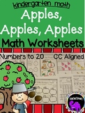 Apples, Apples, Apples Math Worksheets for Kindergarten - Numbers to 20