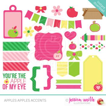 Apples Apples Cute Digital Clipart, Teacher Clip Art