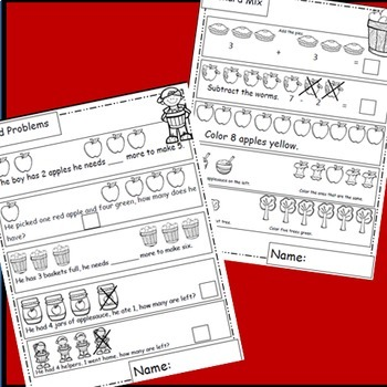 Apples Math Worksheets, Apple Theme for Apples Unit or Fall Activities