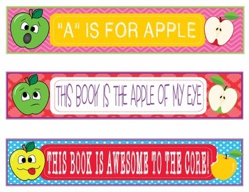 Apple Faces Apples Bookmarks, Shelf Markers or Desk Name Plates - EDITABLE