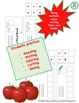 Apples Build a Word Book - Color, Cut and Glue Activity