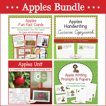 Apples Bundle - Apple Unit, Fun Fact Cards, Cursive Copywork, & Writing Prompts