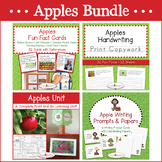 Apples Bundle - Apple Unit, Fun Fact Cards, Print Copywork, and Writing Prompts