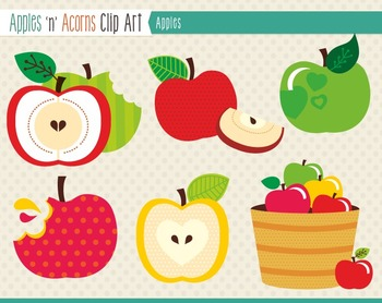 Apples Clip Art - color and outlines
