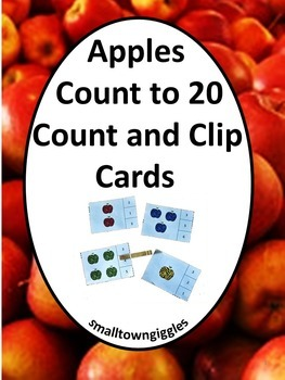 Apples Count to 20 Count Clip Cards Johnny Appleseed Activities Fine Motor Skill
