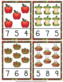Apples Count and Clip Cards Numbers 1-12