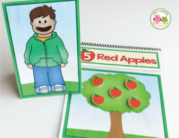 Apples Interactive Counting Book: 5 Red Apples Activity for Preschool & Pre-K