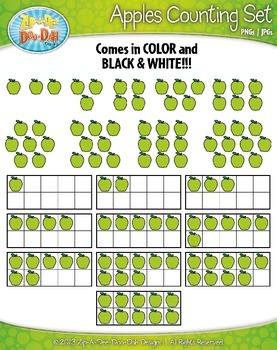 Apples Counting and Ten Frames Clipart {Zip-A-Dee-Doo-Dah Designs}