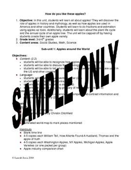 Apples Cross-curricular Thematic Unit Lesson Plan