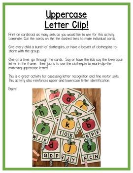Apples! Differentiated Literacy Centers:  Letters for Preschool, PreK & K