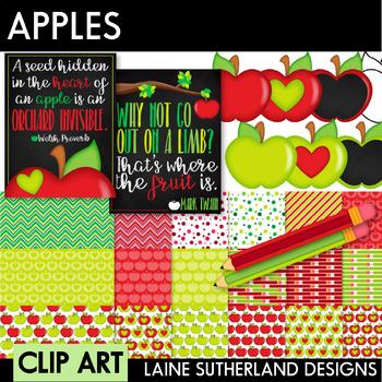 Apples Digital Paper & Clip Art Set