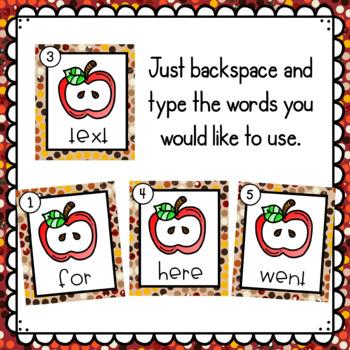 Apples- Editable Write the Room