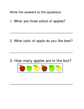Apples Following Directions Comprehension Emergent Reader Printable Write Answer