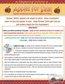 Apples For Sale--Money and (very) Pre-Algebra Activity
