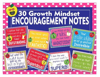 Apple Faces Apples Growth Mindset Encouragement Notes Cards - 30 Different Cards