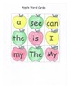 Apples High Frequency Words Center Game Sight Words RF.K.3c Color and Blackline