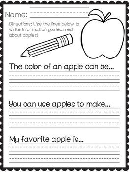 Apples Information Worksheet